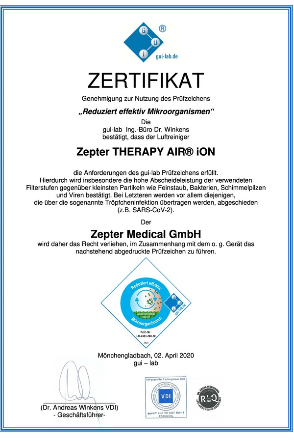 Luftreiniger Zertifikat Zepter Air Therapy